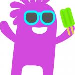 funny purple cartoon figure