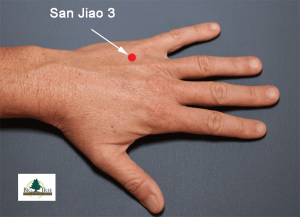 SJ 3 is on the back of the hand, just behind the 4th and 5th knuckles, for stuffy ears.