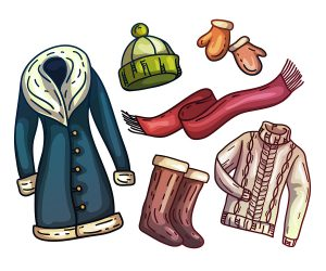 coat, boots, warm gloves