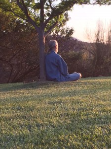 peaceful man meditating