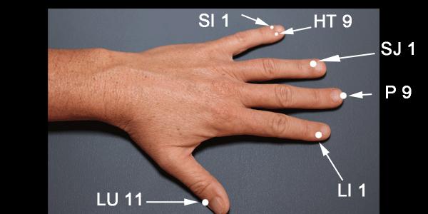 Acupressure points on fingertips